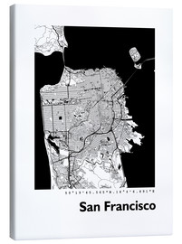 Lienzo  Mapa de la ciudad de San Francisco - 44spaces