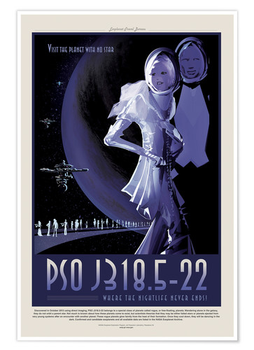 Póster Retro Space Travel - PSOJ318 Noche sin fin