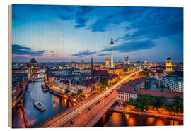 Cuadro de madera  The skyline of Berlin at night - Jan Christopher Becke