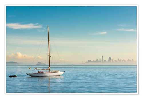 Póster Sailboat in front of San Francisco, California, USA