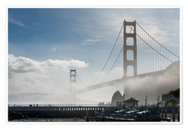 Póster San Francisco - Fog at Golden Gate Bridge