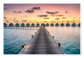 Póster  Romantic sunset in the Maldives - Jan Christopher Becke