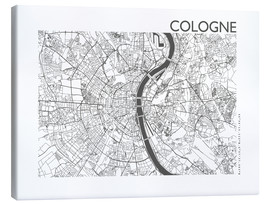 Lienzo  Mapa de la ciudad de Colonia - 44spaces