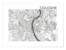 Póster  Mapa de la ciudad de Colonia - 44spaces