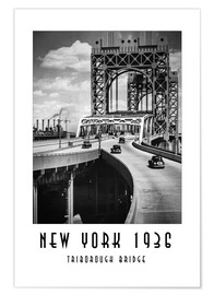 Póster Historic New York - Triborough Bridget, Manhattan