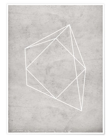 Póster gray polygon 7