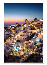 Póster Santorini at the blue hour