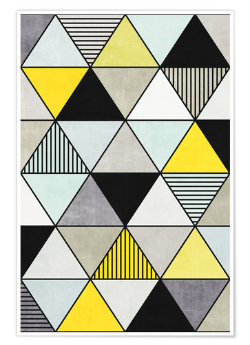 Póster Colorful Concrete Triangles 2 - Yellow, Blue, Grey
