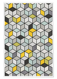 Póster Colorful Concrete Cubes - Yellow, Blue, Gray