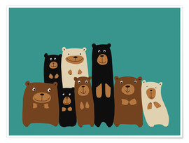 Póster  Bear friends turquoise - Kidz Collection