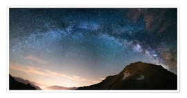 Póster  Milky Way arch and starry sky on the Alps. Panoramic view - Fabio Lamanna