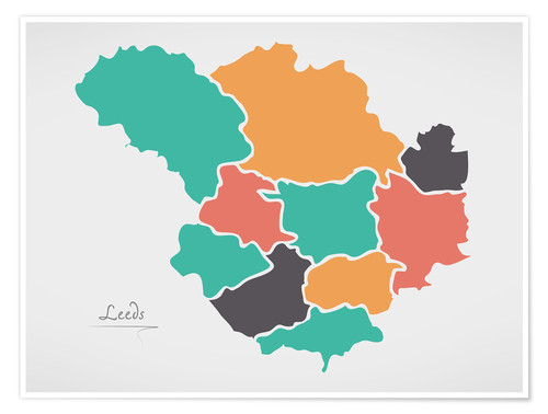 Póster Leeds city map modern abstract with round shapes