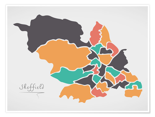 Póster Sheffield city map modern abstract with round shapes
