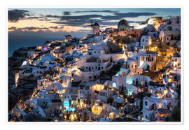Póster  Santorini view after sunset - Dennis Fischer