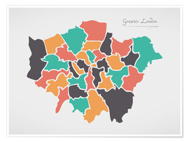 Póster Greater London city map modern abstract with round shapes