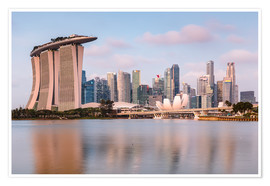 Póster  Singapore skyline at sunrise - Matteo Colombo