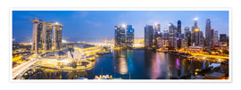Póster  Singapore skyline panoramic - Matteo Colombo