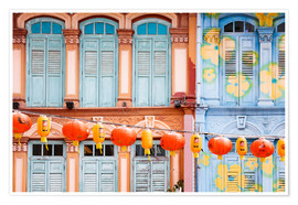 Póster  Colourful windows in Chinatown, Singapore - Matteo Colombo