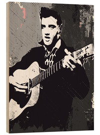 Cuadro de madera  Elvis Presley black and white art print - 2ToastDesign