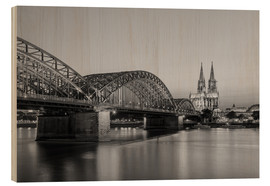 Cuadro de madera  Hohenzollern Bridge and Cologne Cathedral black-and-white - Michael Valjak