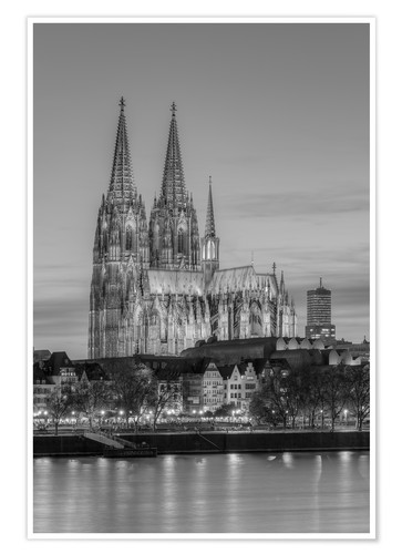 Póster Cologne Cathedral black-and-white