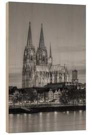 Cuadro de madera  Cologne Cathedral black-and-white - Michael Valjak