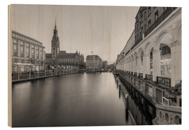 Madera  Hamburg Alsterarkaden and city hall black-and-white - Michael Valjak