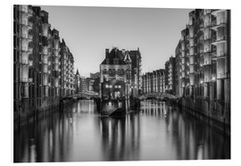 Cuadro de PVC  Hamburg Speicherstadt black-and-white - Michael Valjak