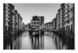 Póster Hamburg Speicherstadt black-and-white