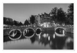 Póster Amsterdam Keizersgracht black-and-white