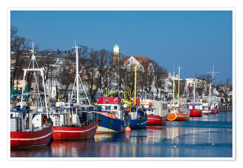 Póster Fishing boats in Warnemuende, Germany