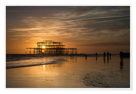 Póster Brighton West Pier Sunset