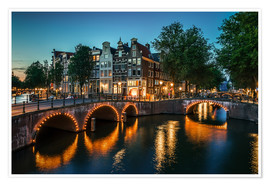 Póster Nightfall in Amsterdam, Netherlands