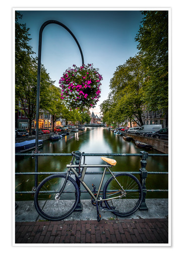 Póster The bike at the canal, Amsterdam