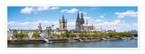 Póster Cologne Rheinufer with cathedral and town hall