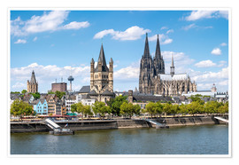 Póster City view of Cologne in summer, North Rhine-Westphalia, Germany