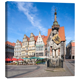 Lienzo  Historic Market Square in Bremen with Roland Statue - Jan Christopher Becke