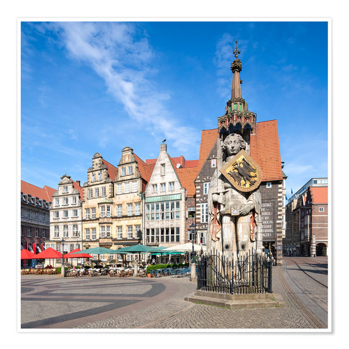 Póster Historic Market Square in Bremen with Roland Statue