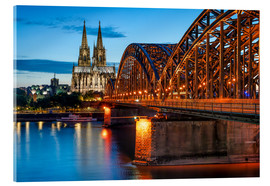 Cuadro de metacrilato  Cologne Cathedral and Hohenzollern Bridge at night - Jan Christopher Becke