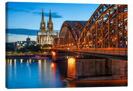 Lienzo  Cologne Cathedral and Hohenzollern Bridge at night - Jan Christopher Becke