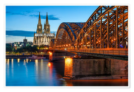 Póster  Cologne Cathedral and Hohenzollern Bridge at night - Jan Christopher Becke