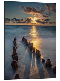 Aluminio-Dibond  Groyne on Sylt with sunset - Heiko Mundel