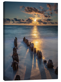 Lienzo  Groyne on Sylt with sunset - Heiko Mundel