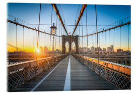 Cuadro de metacrilato  Brooklyn Bridge at sunrise in front of the Brooklyn skyline - Jan Christopher Becke