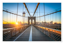 Póster  Brooklyn Bridge at sunrise in front of the Brooklyn skyline - Jan Christopher Becke