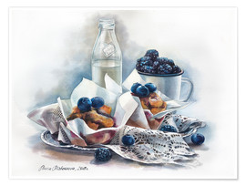 Póster Muffins and milk