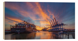 Cuadro de madera  Sunset at the container terminal Hamburg Waltershof - Heiko Mundel
