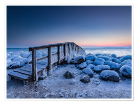 Póster  Jetty on the icy Baltic Sea near Travemünde - Heiko Mundel