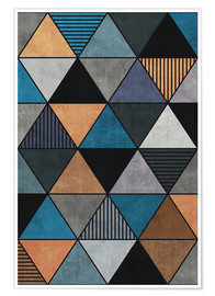 Póster Colorful Concrete Triangles 2 Blue Grey Brown