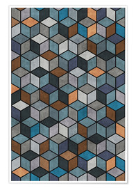 Póster Colorful Concrete Cubes Blue Grey Brown